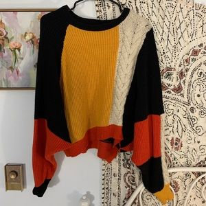 Urban Outfitters ecote color block cropped sweater